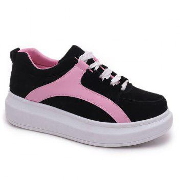 Leisure Colour Splicing and Suede Design Women's Athletic Shoes