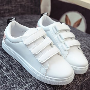 Casual PU Leather and Letter Pattern Design Women's Athletic Shoes - PINK/WHITE 39