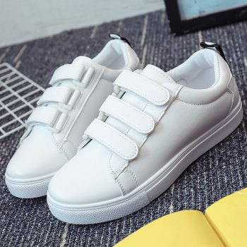 Casual PU Leather and Letter Pattern Design Women's Athletic Shoes - WHITE 39