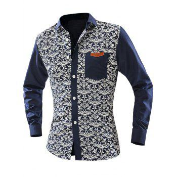 Ornate Print Pocket Front Men's Long Sleeve Shirt