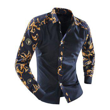 Ornate Print Splicing Turn-down Collar Long Sleeve Men's Shirt