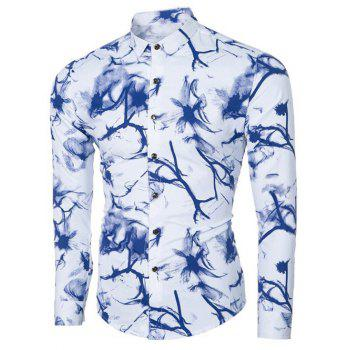 Ink Floral Print Turn-down Collar Men's Long Sleeve Shirt