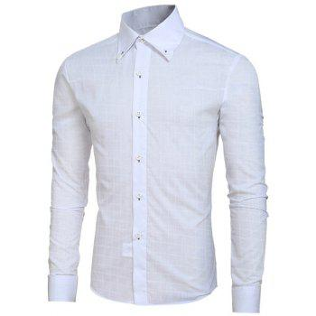 Grid Pattern Long Sleeve Men's Button-Down Shirt - WHITE L