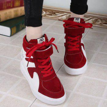Color Block Hidden Wedge Sneakers