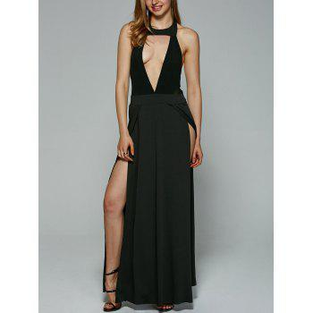 Alluring Backless Hollow Out High Slit Maxi Dress For Women