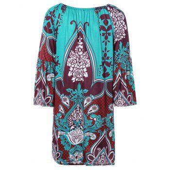 Ethnic Paisley Print Loose Fitting Dress - COLORMIX 2XL