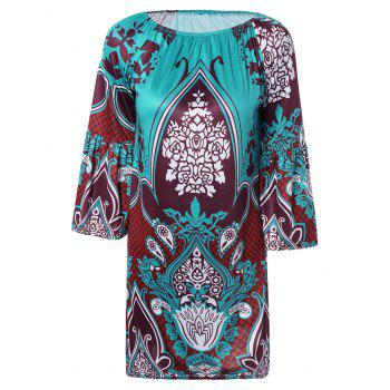 Ethnic Paisley Print Loose Fitting Dress