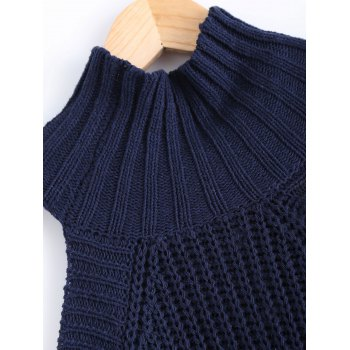 Cold Shoulder Turtle Neck Pure Color Sweater - ONE SIZE ONE SIZE