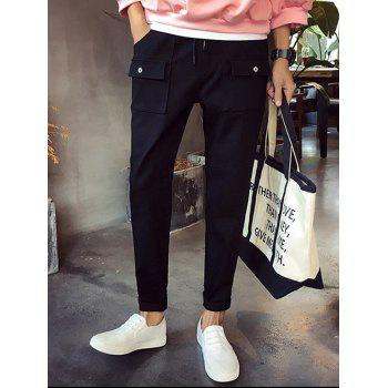 Lace-Up Narrow Feet Pockets Embellished Men's Nine Minutes of Pants