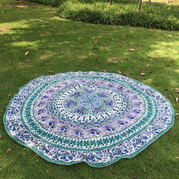 Retro Indian Style Mandala Elephant Pattern Green Chiffon Round Beach Throw