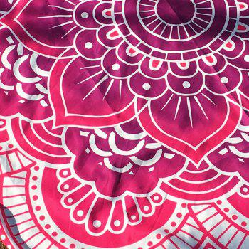 Retro Indian Style Personality Mandala Flower Shape Polyster Round Beach Throw - RED ONE SIZE