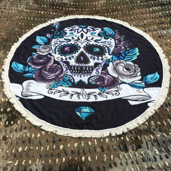 Retro Gothic Style Skull and Flower Pattern Tassel Edge Polyster Round Beach Throw