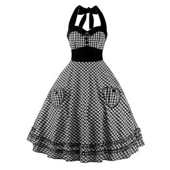 A Line Pocket Halter Checkered Pocket Vintage Dress
