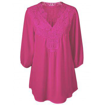 Plus Size Sweet Crochet Spliced Blouse