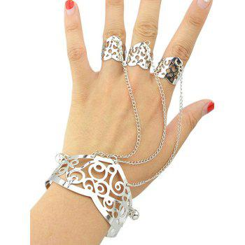 Vintage Hollow Out Bracelet With Ring
