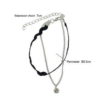 Rhinestone Layered Faux Leather Thread Anklet -  SILVER