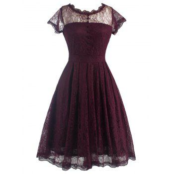 Retro Laciness Back V Dress For Women