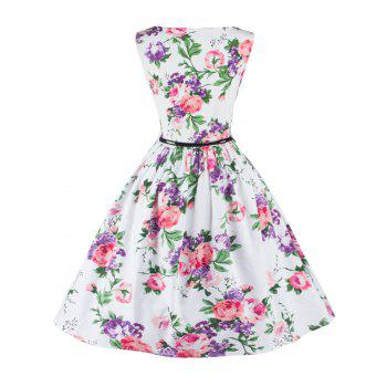Sleeveless Floral Flare Cocktail Dress - WHITE 2XL