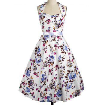 Halter Floral Fit and Flare Cocktail Dress
