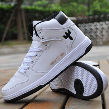 Concise Colour Splicing and Tie Up Design Men's Casual Shoes - WHITE/BLACK 43