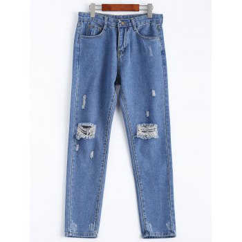 Fresh Distressed Ripped Loose-Fitted Pencil Jeans - DENIM BLUE XL