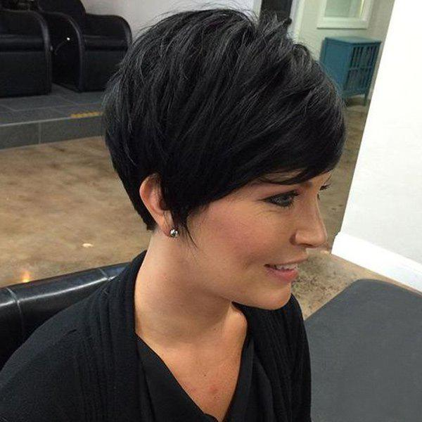 Fluffy Trendy Short Boy Cut 100 Percent Women's Human Hair Side Bang Wig - JET BLACK
