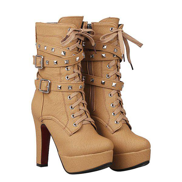 Buckled Studded Ankle Boots - APRICOT 39