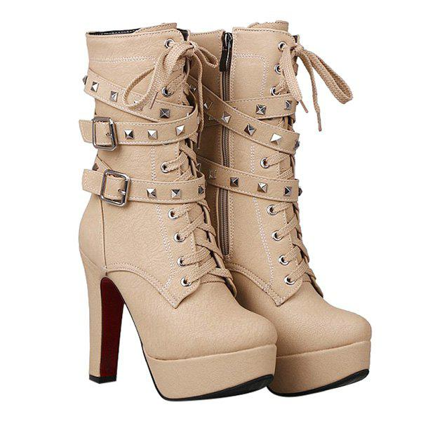 Buckled Studded Ankle Boots - OFF WHITE 39