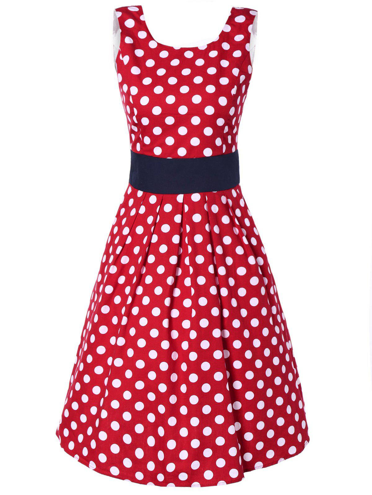 Retro Polka Dot Print Sleeveless U Neck Dress