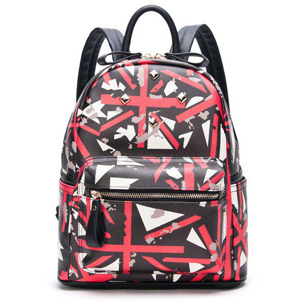 Stylish Printed and Rivet Design Women's Backpack - BLACK