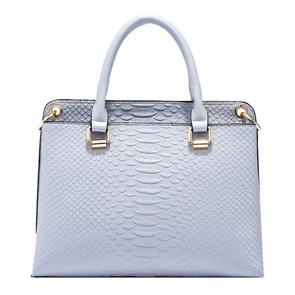 Stylish Metal and Embossing Design Women's Tote Bag - BLUE GRAY