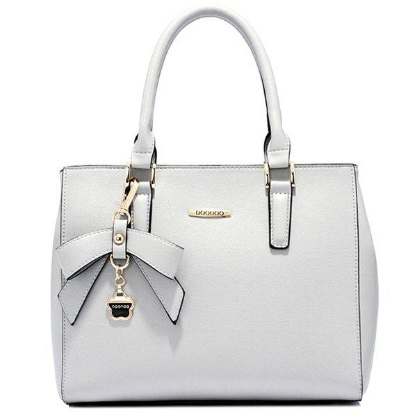 Graceful Bow and PU Leather Design Women's Totes - GRAY