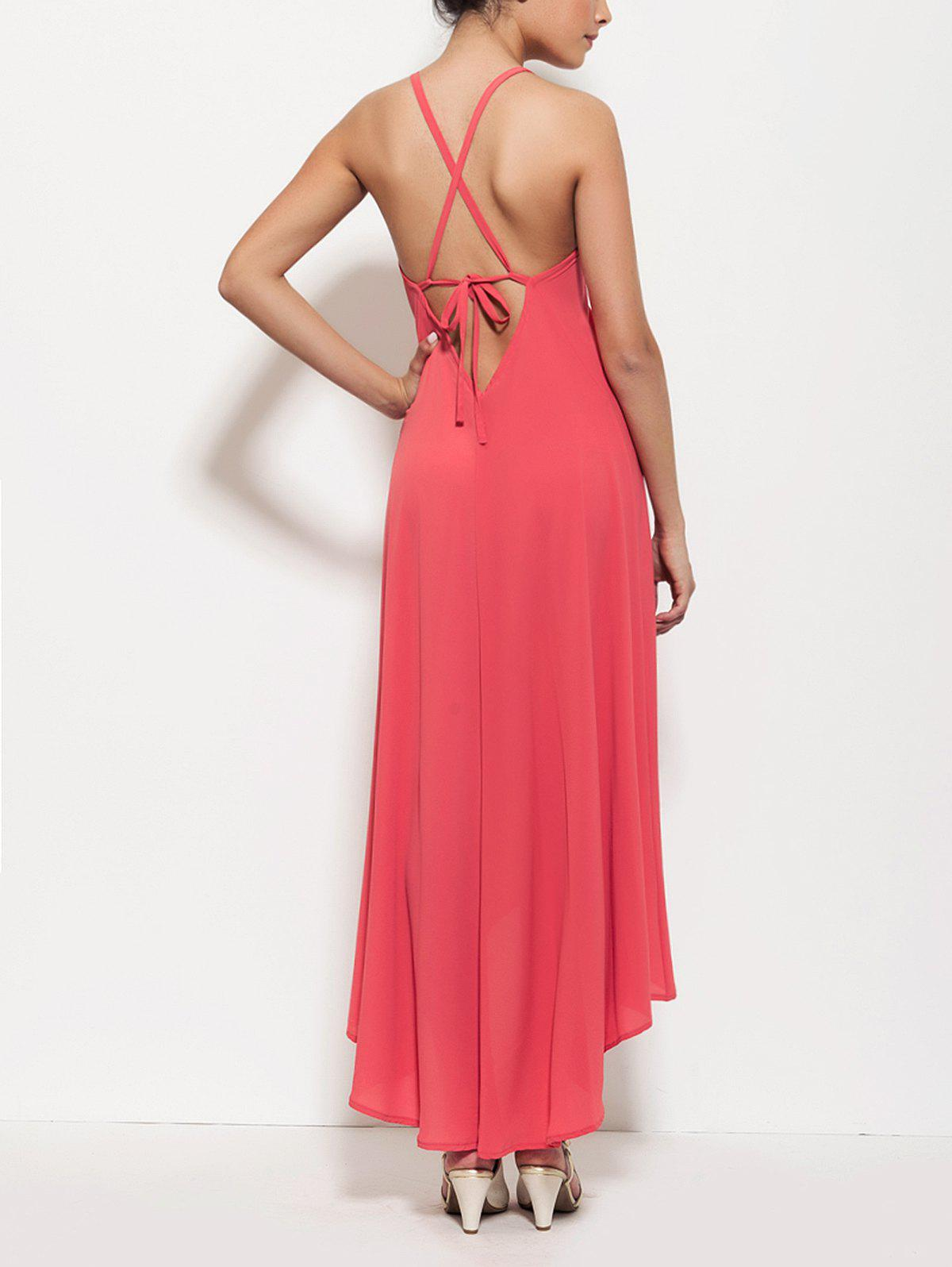 Spaghetti Strap High Low Lace-Up Backless Maxi Dress For Women - ROSE RED XL