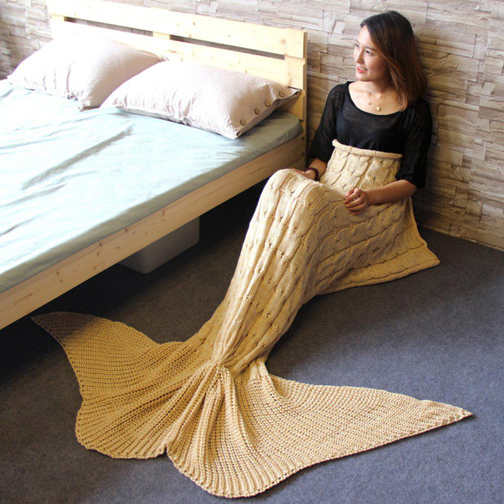 Knitted Braid Mermaid Tail Blanket For Adult - KHAKI