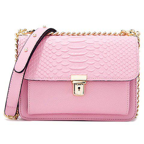 Trendy Crocodile Pattern and Chains Design Women's Crossbody Bag - PINK