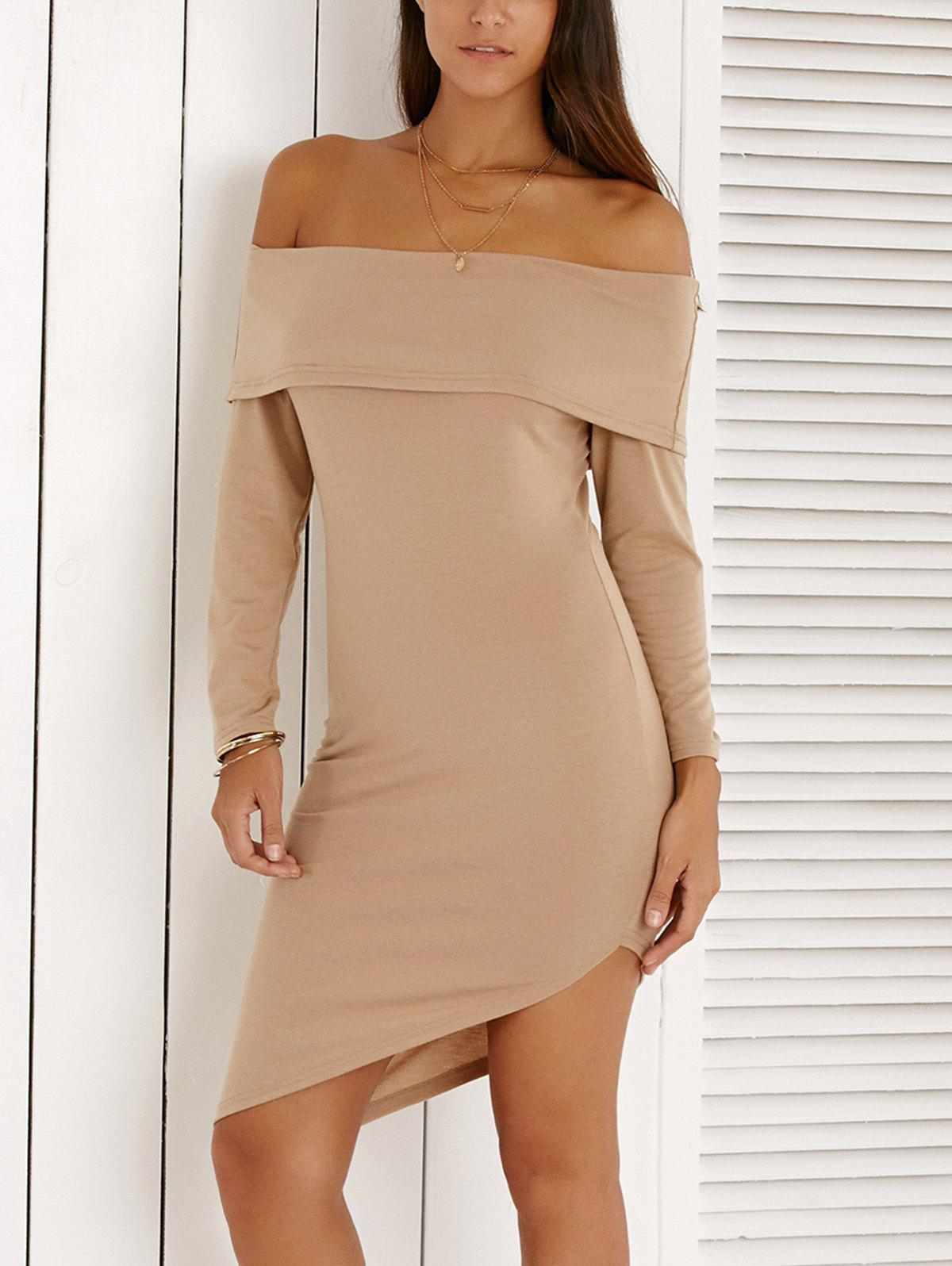 Stylish Off The Shoulder High Low Bodycon Dress For Women - LIGHT KHAKI XL