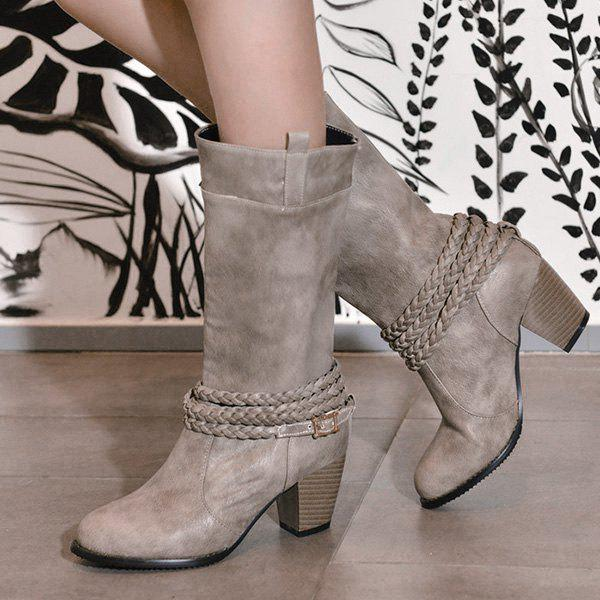 Retro Weaving and Buckle Design Women's Boots - GRAY 39