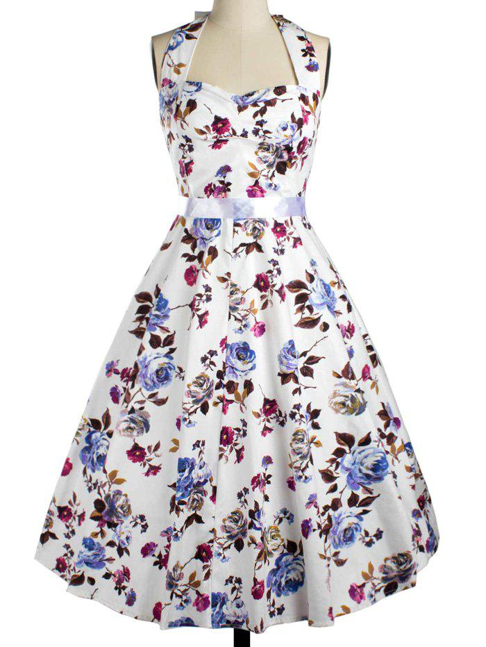 Vintage Halter Floral Fit and Flare Dress For Women - WHITE 2XL