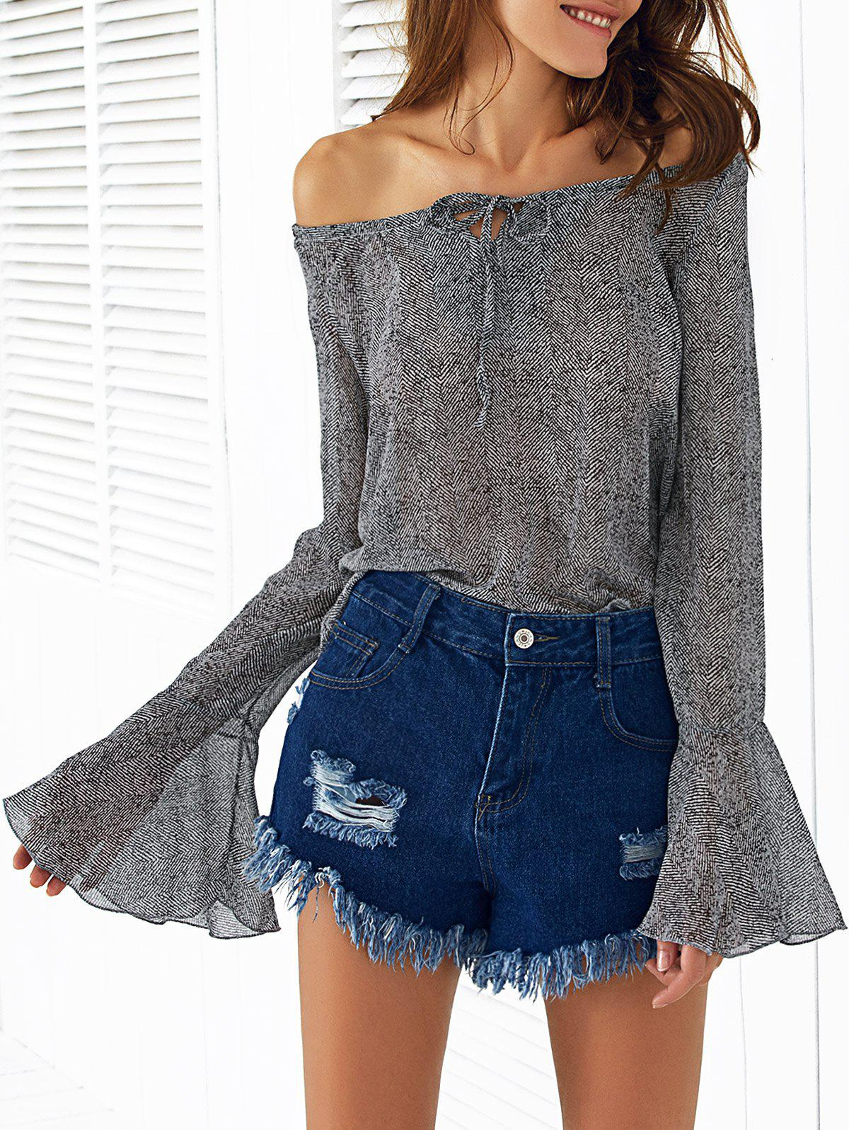 Trendy Off The Shoulder Bell Sleeve Printed Women's Blouse - GRAY S