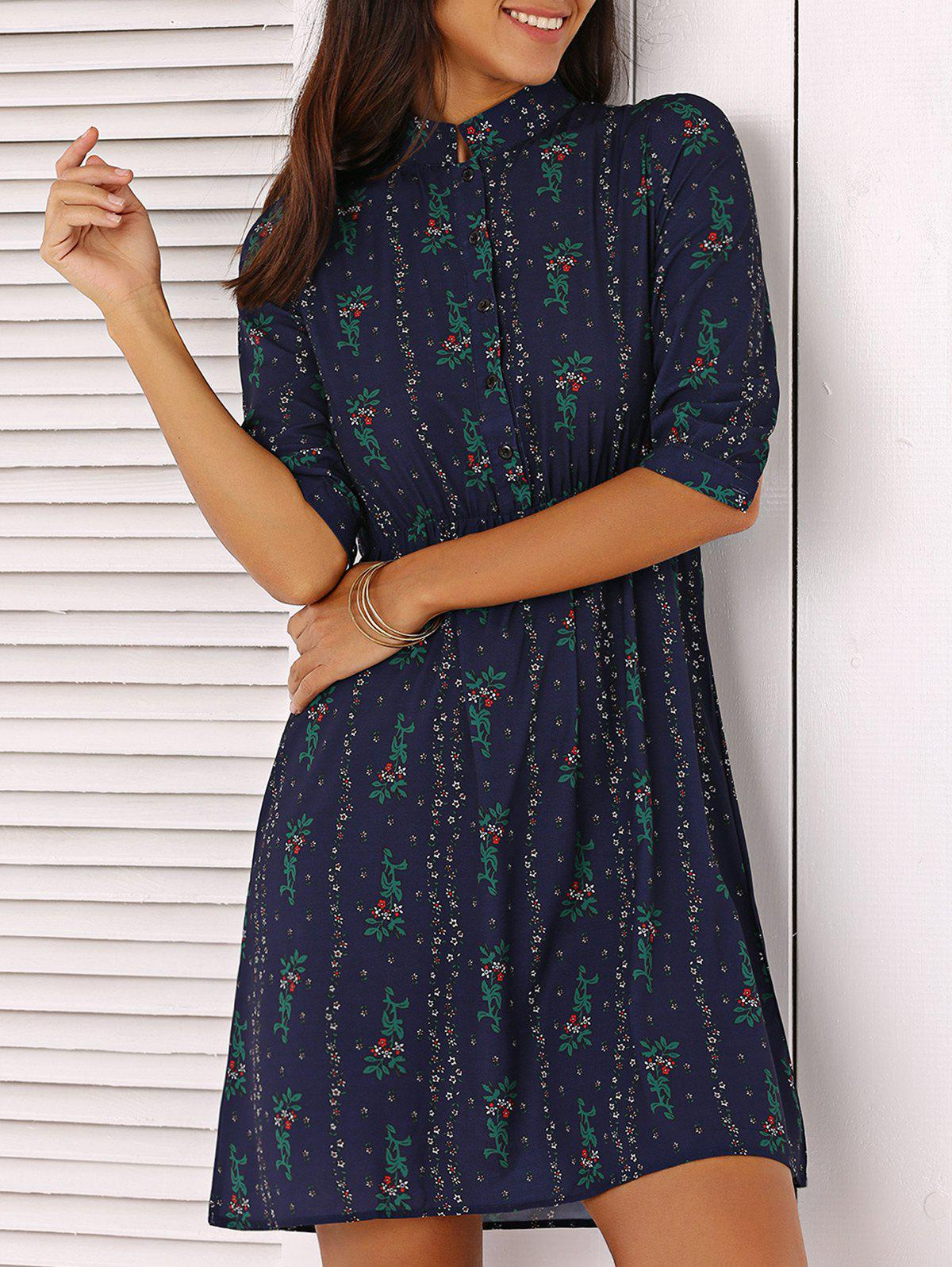 Tiny Flower Print Mini Dress - DEEP BLUE S