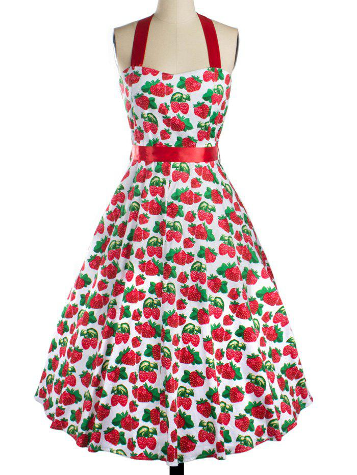 Sweet Strawberry Print Bowknot Dress For Women - RED 2XL
