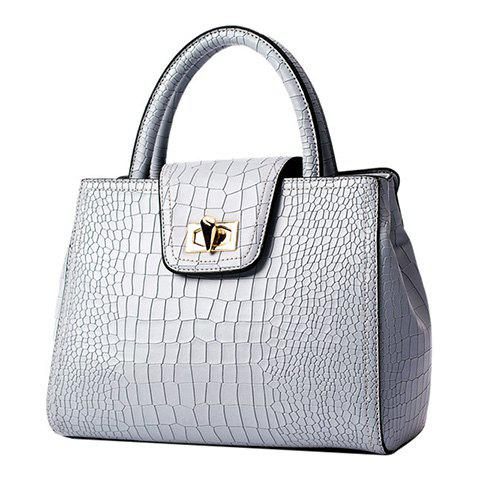 Fashion Twist-Lock and Crocodile Print Design Women's Tote Bag - BLUE GRAY