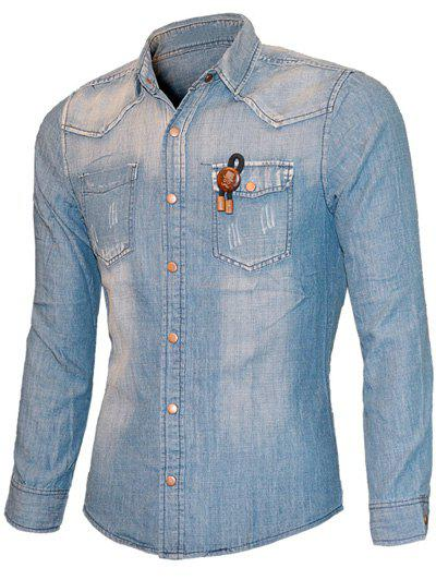 Scratched Pockets Front Turn-down Collar Long Sleeve Men's Chambray Shirt - DENIM BLUE 2XL