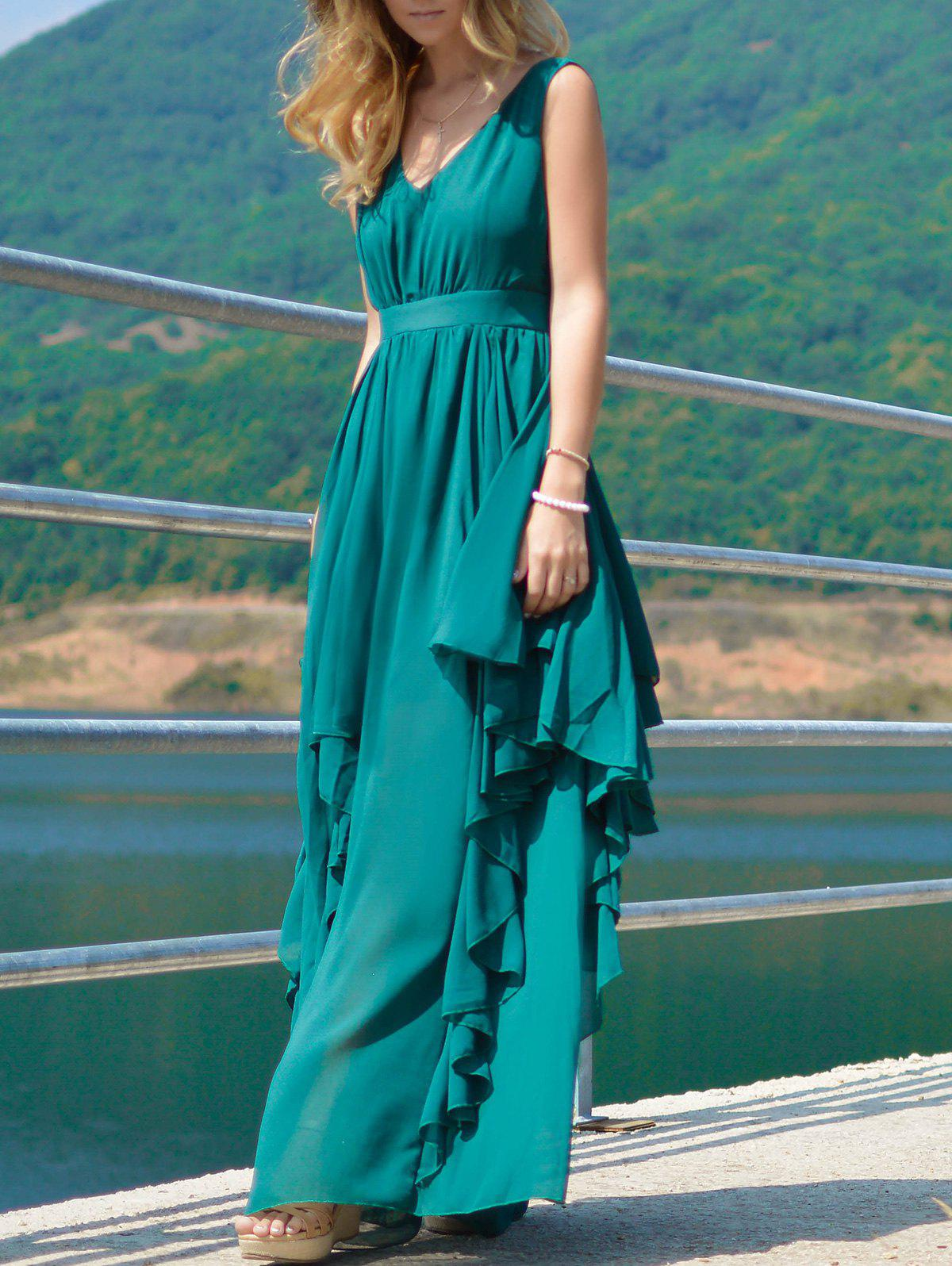 Stylish Plunging Neck Pure Color Chiffon Dress For Women - DEEP GREEN S