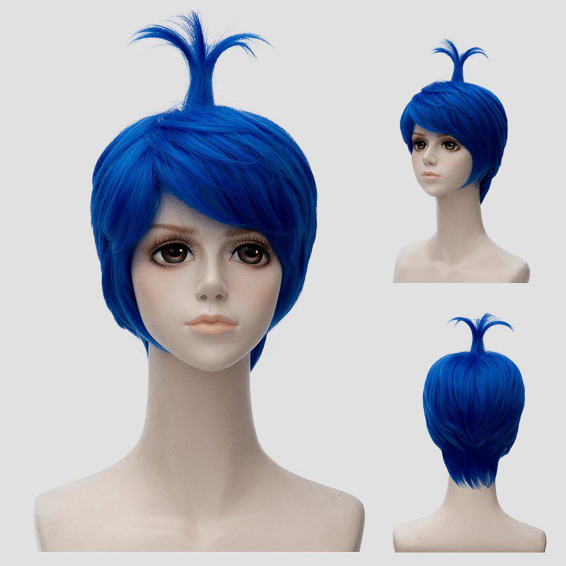 Stylish Short Straight Blue Ahoge Hairstyle Film Character Cosplay Wig - BLUE