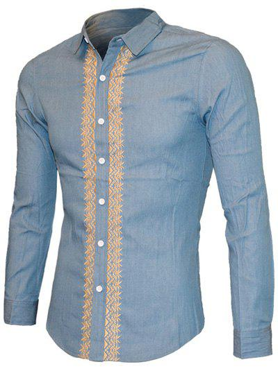 Embroidered Turn-down Collar Long Sleeve Men's Casual Shirt