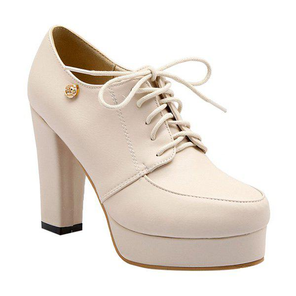 Concise Lace-Up and Chunky Heel Design Women's Pumps - APRICOT 39
