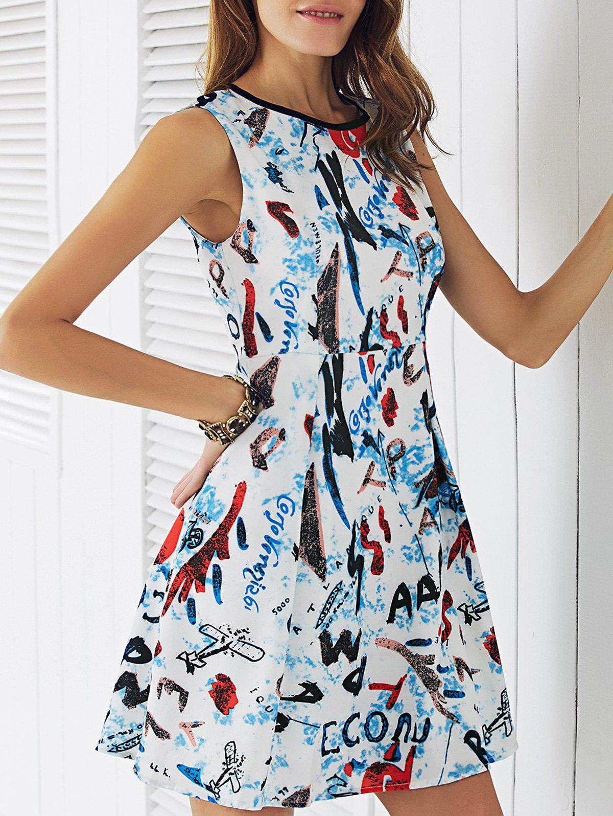 Stylish Round Neck Letter Print Women's Dress