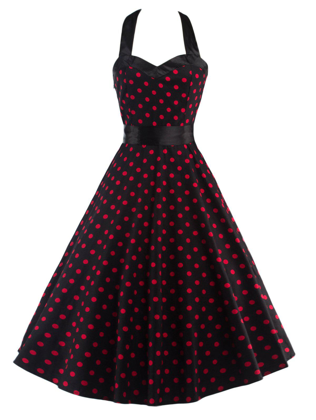 Halter Open Back Polka Dot Cocktail Dress - RED/BLACK 2XL