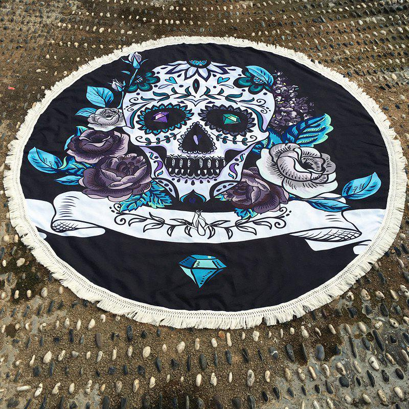 Retro Gothic Style Skull and Flower Pattern Tassel Edge Polyster Round Beach Towel